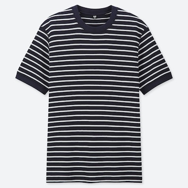 MEN WAFFLE KNIT STRIPED CREW NECK SHORT SLEEVED T-SHIRT
