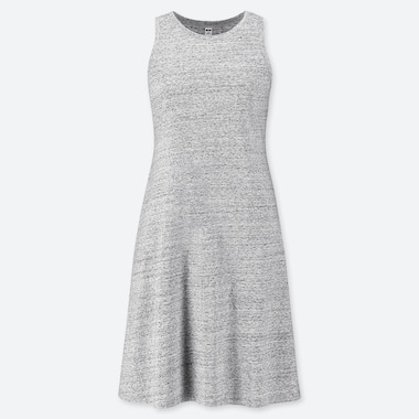WOMEN COTTON MODAL SLEEVELESS DRESS, GRAY, medium
