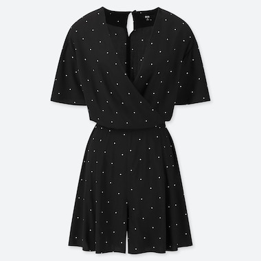 WOMEN RAYON DOTTED WRAP SHORT SLEEVED PLAYSUIT