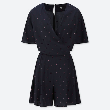 WOMEN RAYON PRINTED SHORT-SLEEVE ROMPER (ONLINE EXCLUSIVE), NAVY, medium