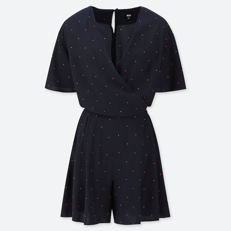 WOMEN RAYON PRINTED SHORT-SLEEVE ROMPER (ONLINE EXCLUSIVE), NAVY, large