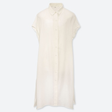 WOMEN LINEN BLEND LONGLINE SHORT SLEEVED SHIRT DRESS