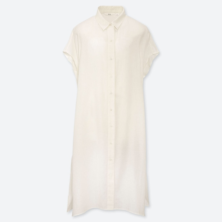 WOMEN LINEN BLEND SHORT-SLEEVE LONG SHIRT, WHITE, large