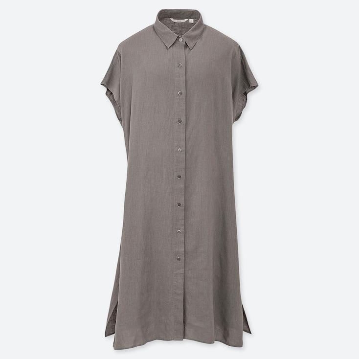 WOMEN LINEN BLEND SHORT-SLEEVE LONG SHIRT, OLIVE, large