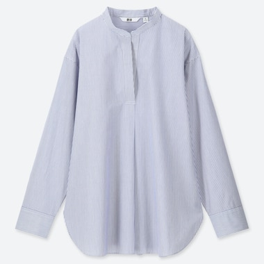 WOMEN EXTRA FINE COTTON STAND COLLAR STRIPED LONG SLEEVED SHIRT