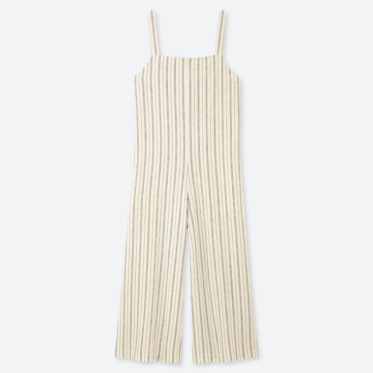 WOMEN LINEN BLEND STRIPED JUMPSUIT, OFF WHITE, large