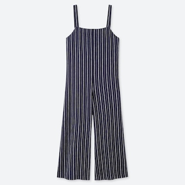 WOMEN LINEN BLEND STRIPED JUMPSUIT