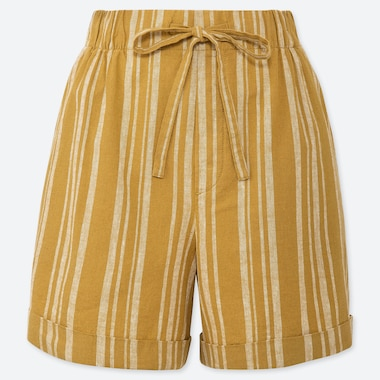 WOMEN LINEN COTTON RELAXED SHORTS, YELLOW, medium