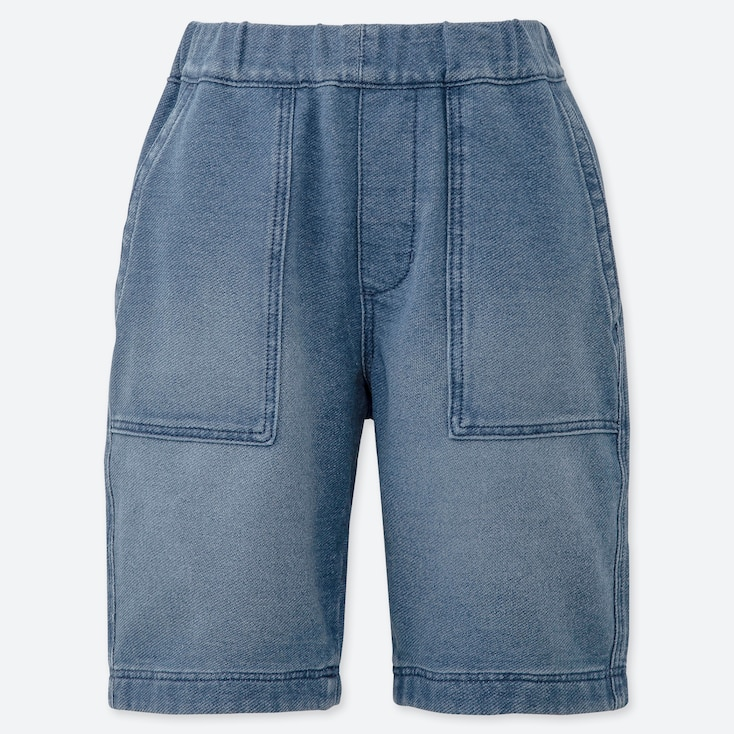 BOYS JERSEY DENIM EASY SHORTS, BLUE, large