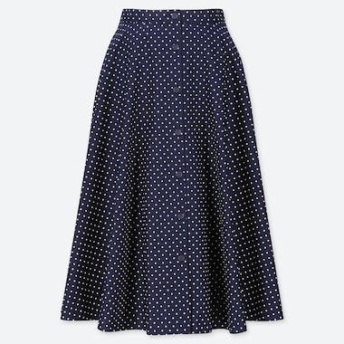 WOMEN BUTTONED DOTTED PRINT CIRCLE SKIRT