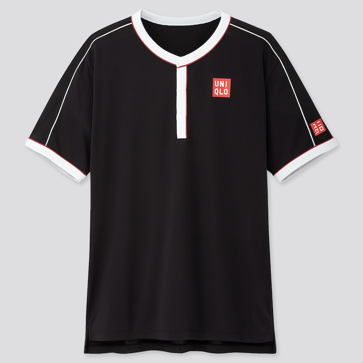 MEN DRY-EX POLO SHIRT (ROGER FEDERER 19US), BLACK, large