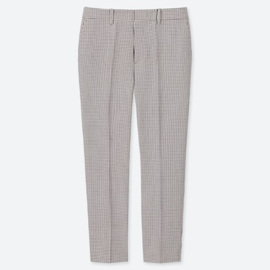 WOMEN EASY CARE STRETCH GINGHAM CHECKED CROPPED TROUSERS