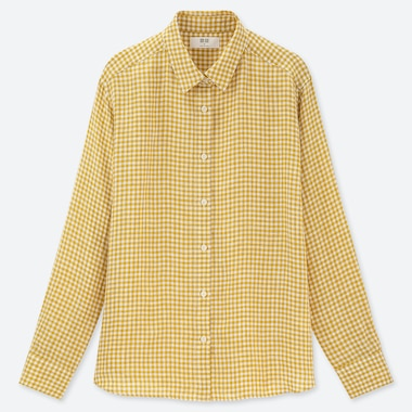 WOMEN PREMIUM LINEN CHECKED LONG SLEEVED SHIRT
