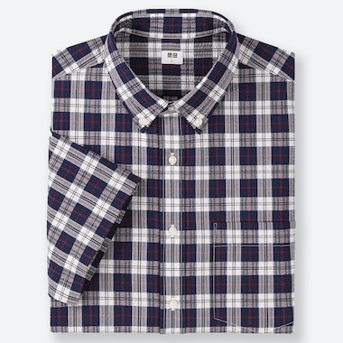 MEN DRY SEERSUCKER CHECKED SHORT-SLEEVE SHIRT, NAVY, medium