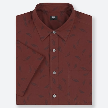 MEN EXTRA FINE COTTON SHORT-SLEEVE SHIRT, BROWN, medium