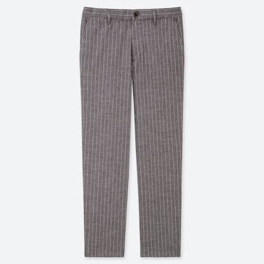 MEN COTTON LINEN STRIPED RELAXED PANTS, DARK GRAY, medium