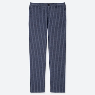 MEN COTTON LINEN BLEND RELAXED FIT STRIPED TROUSERS