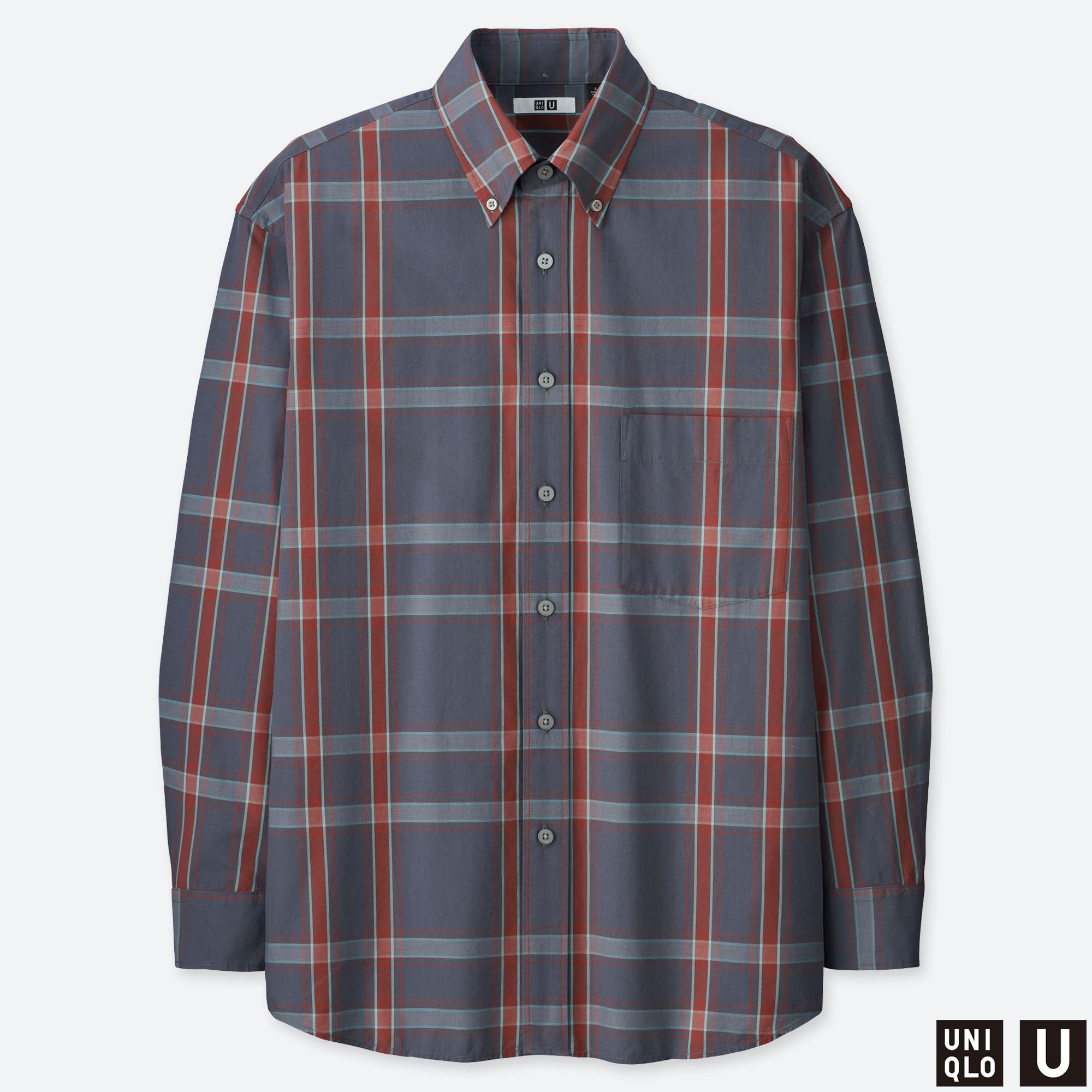 ARTFFEL Mens Long Sleeve Relaxed Fit Checkered Button Up Cotton Dress Work Shirt