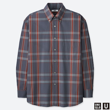 MEN UNIQLO U WIDE FIT CHECKED SHIRT (BUTTON-DOWN COLLAR)
