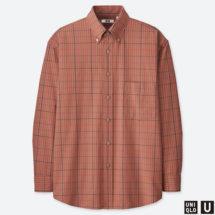 MEN U WIDE-FIT CHECKED LONG-SLEEVE SHIRT, BROWN, large