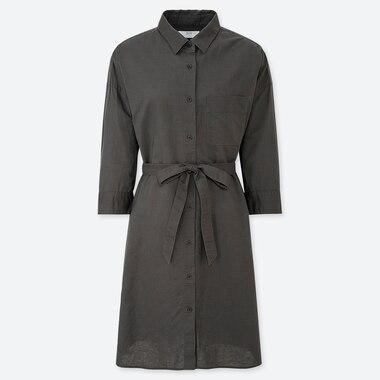 WOMEN LINEN BLEND 3/4 SLEEVE SHIRT DRESS, DARK GRAY, medium