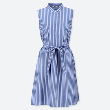 WOMEN EXTRA FINE COTTON A-LINE STRIPED SLEEVELESS DRESS