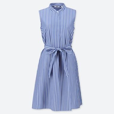 WOMEN EXTRA FINE COTTON A-LINE STRIPED SLEEVELESS DRESS, BLUE, medium