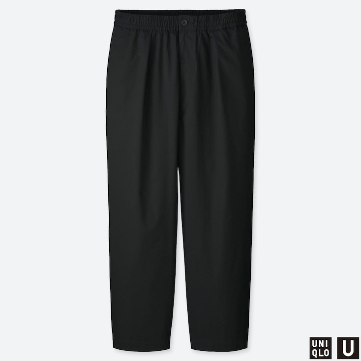 MEN U RELAXED WIDE-FIT TAPERED PANTS, BLACK, large