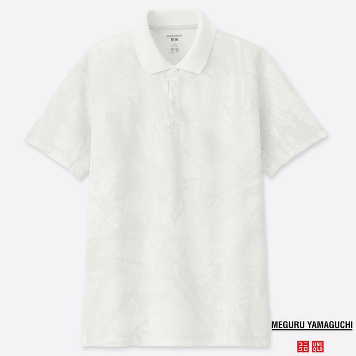 MEN DRY-EX MEGURU YAMAGUCHI PRINTED SHORT-SLEEVE POLO SHIRT, WHITE, large