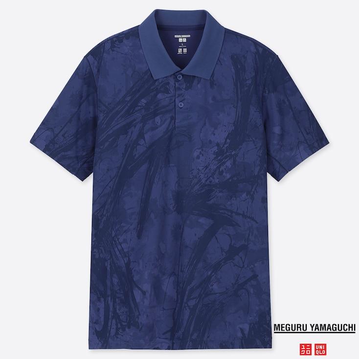 MEN DRY-EX MEGURU YAMAGUCHI PRINTED SHORT-SLEEVE POLO SHIRT, BLUE, large