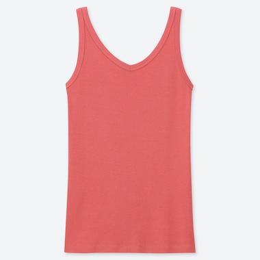 WOMEN COTTON BLENDED RIBBED V-NECK SLEEVELESS TOP, ORANGE, medium
