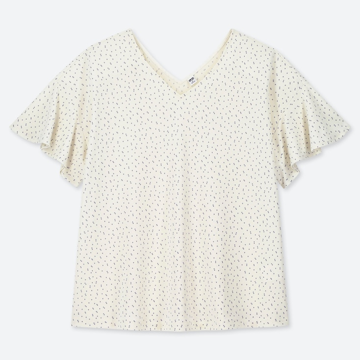WOMEN CREPE JERSEY DOTTED BUTTERFLY SLEEVED T-SHIRT