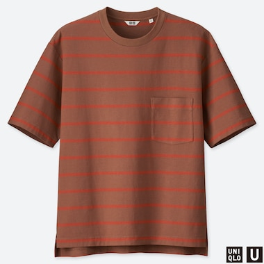 MEN UNIQLO U OVERSIZED STRIPED CREW NECK SHORT SLEEVED T-SHIRT