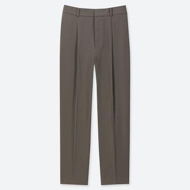WOMEN DRAPE TAPERED ANKLE-LENGTH PANTS, OLIVE, medium