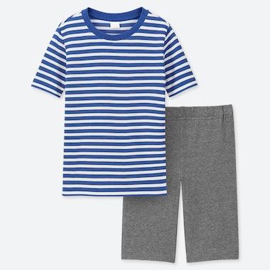 BOYS DRY STRETCH SHORT-SLEEVE SET, BLUE, medium