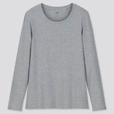 Women 1*1 Ribbed Cotton Crew Neck Long-Sleeve T-Shirt, Gray, Medium
