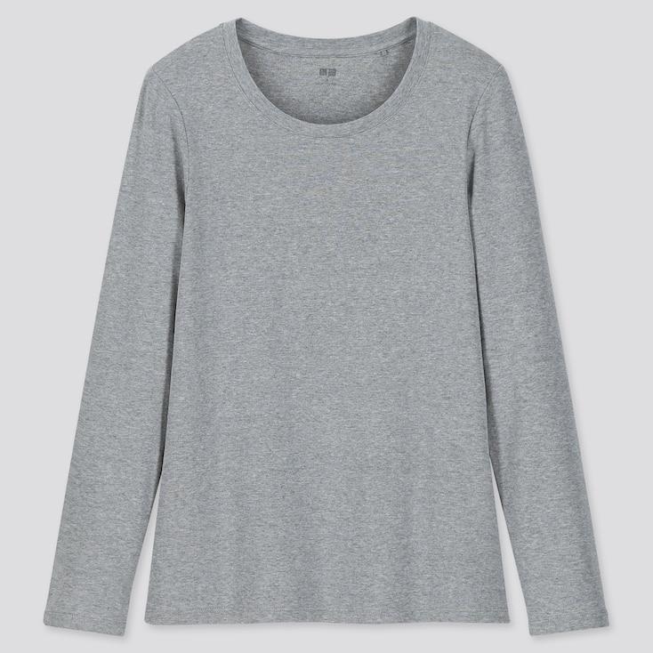 Women 1*1 Ribbed Cotton Crew Neck Long-Sleeve T-Shirt, Gray, Large
