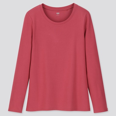 WOMEN 1*1 RIBBED COTTON CREW NECK LONG-SLEEVE T-SHIRT, PINK, medium