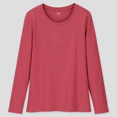 Women 1*1 Ribbed Cotton Crew Neck Long-Sleeve T-Shirt, Pink, Medium