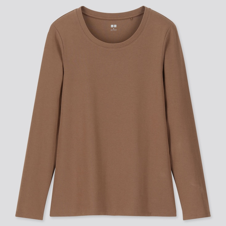 WOMEN 1*1 RIBBED COTTON CREW NECK LONG-SLEEVE T-SHIRT, BROWN, large