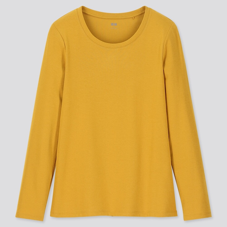 WOMEN 1*1 RIBBED COTTON CREW NECK LONG-SLEEVE T-SHIRT, YELLOW, large