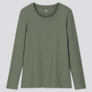 WOMEN 1*1 RIBBED COTTON CREW NECK LONG-SLEEVE T-SHIRT, OLIVE, medium