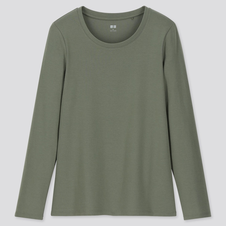 WOMEN 1*1 RIBBED COTTON CREW NECK LONG-SLEEVE T-SHIRT, OLIVE, large