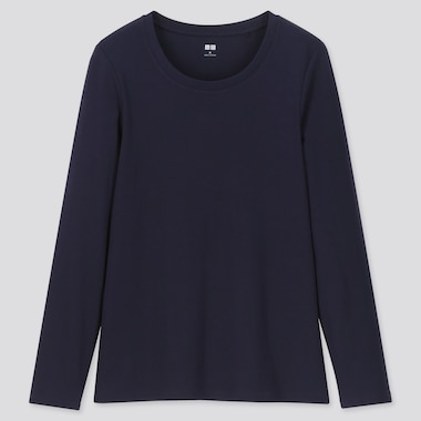 Women 1*1 Ribbed Cotton Crew Neck Long-Sleeve T-Shirt, Navy, Medium