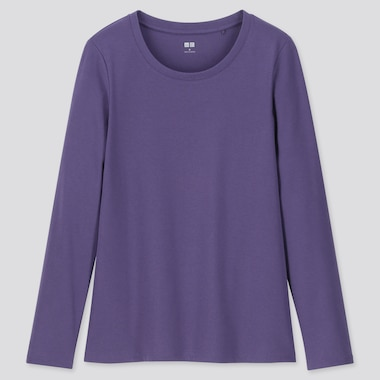 WOMEN 1*1 RIBBED COTTON CREW NECK LONG-SLEEVE T-SHIRT, PURPLE, medium