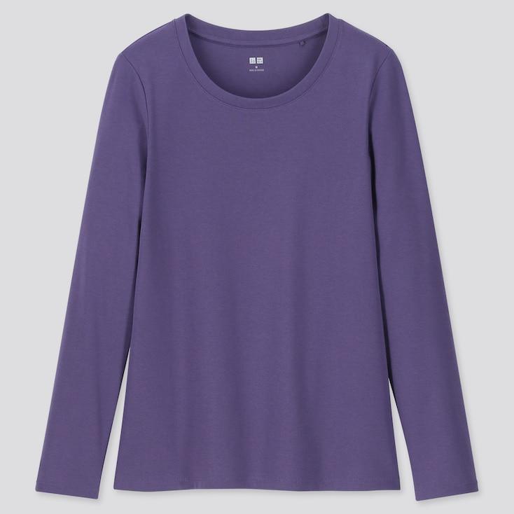 WOMEN 1*1 RIBBED COTTON CREW NECK LONG-SLEEVE T-SHIRT, PURPLE, large