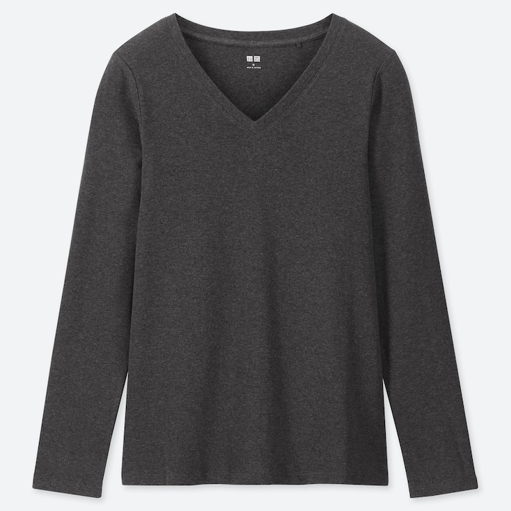 WOMEN 1*1 RIBBED COTTON V-NECK LONG-SLEEVE T-SHIRT, DARK GRAY, large