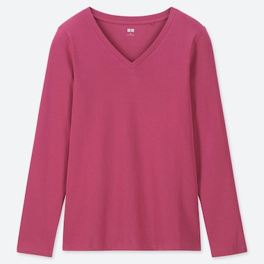 WOMEN 1*1 RIBBED COTTON V-NECK LONG-SLEEVE T-SHIRT, PINK, medium