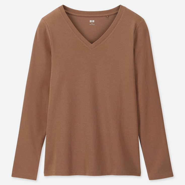 WOMEN 1*1 RIBBED COTTON V-NECK LONG-SLEEVE T-SHIRT, BROWN, large