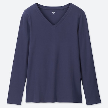 WOMEN 1*1 RIBBED COTTON V-NECK LONG-SLEEVE T-SHIRT, BLUE, medium